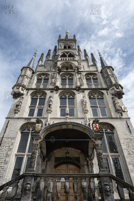 June 10, 2017: Netherlands- Gouda- gothic town hall on market square