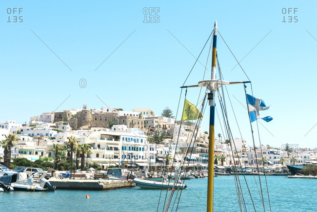 July 8, 2016: Greece- Cyclades- Naxos- townscape with boats moored in the port