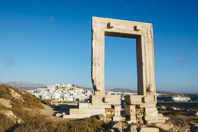 July 8, 2016: Greece- Cyclades- Naxos- Gate to the temple of Apollo