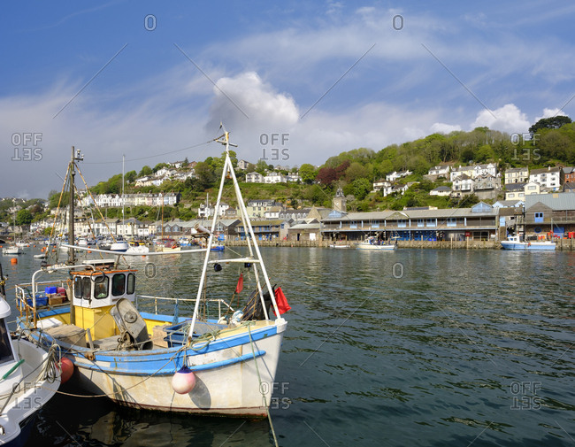 May 7, 2017: UK- England- Cornwall- Looe- fishing boat at harbor