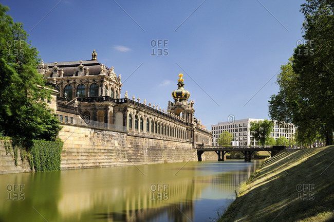Germany- Dresden- Zwinger- moat- Kronentor and Langgalerie