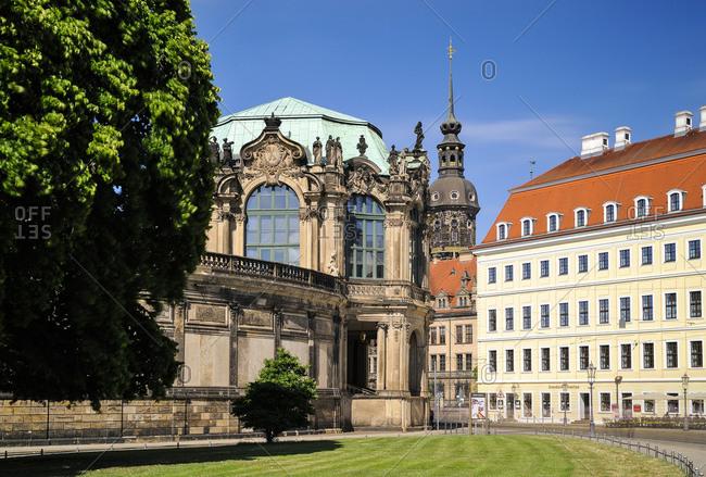 Germany- Dresden- Zwinger- Glockenspiel pavilion- Hausmannsturm and Taschenbergpalais