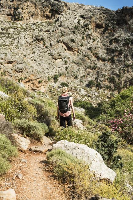 Greece- Crete- Kato Zakros- Gorge of the Dead- woman hiking