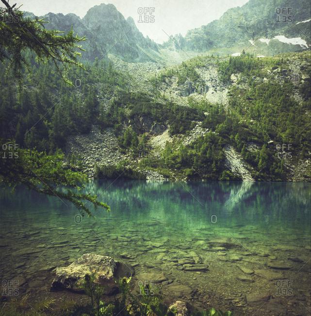 Italy- Lombardy- mountain lake Lago Lagazzuolo near San Guiseppe