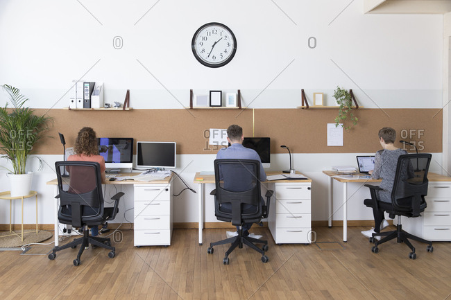 Colleagues working in modern office