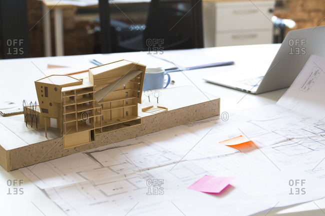 Desk with architectural model