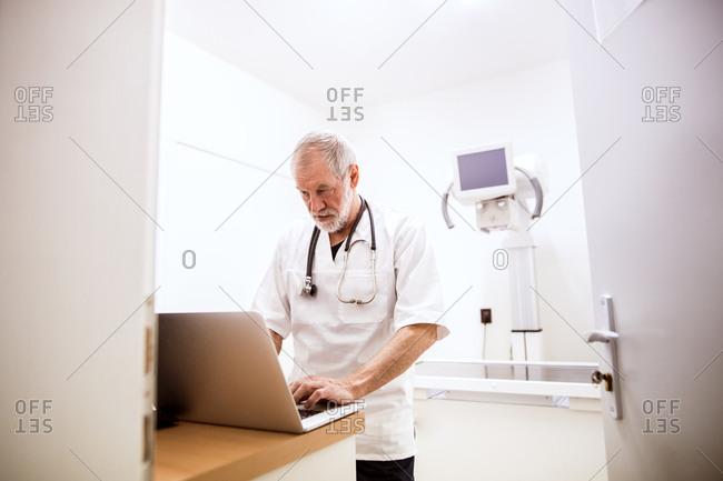 Senior vet using laptop in clinic