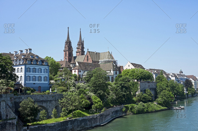 Switzerland- Basel- city view with minster from Wettstein Bridge