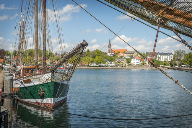 Germany- Eckernfoerde- view from harbor towards Borby church