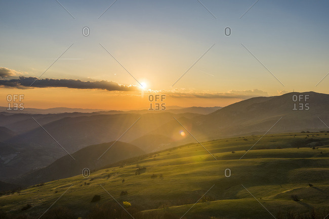 Italy- Marche- Petrano Mountain-  sunset over Apennine Mountains