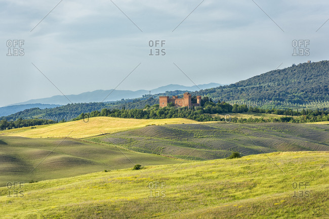 Italy- Tuscany- Val d'Orcia- Asciano- old castle