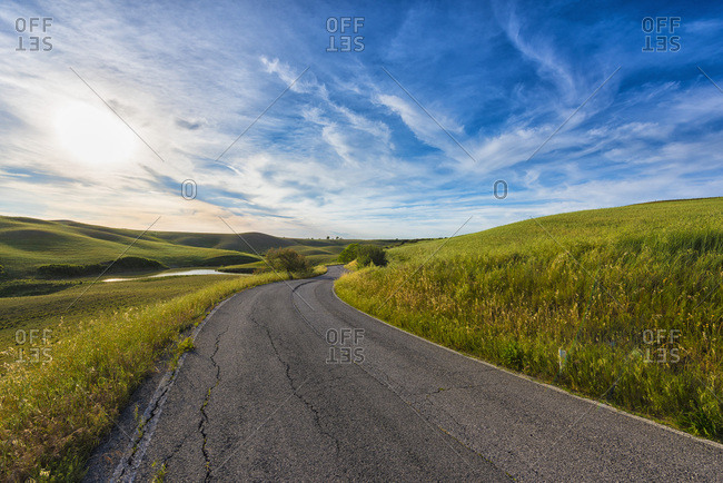 Italy- Tuscany- Val d'Orcia- road through the fields
