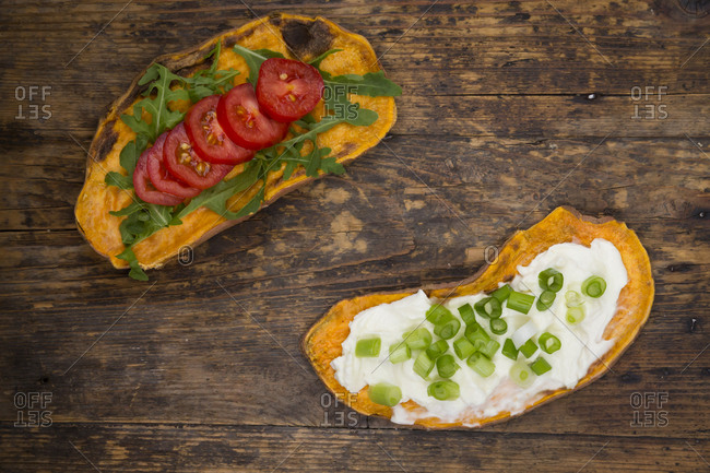 Toasted sweet potato slices garnished with various toppings