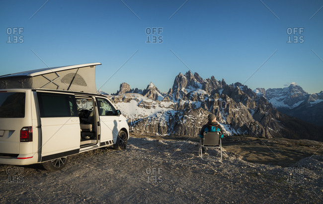 Italy- Alto Adige- Dolomites- Camper in front of Cardini Group