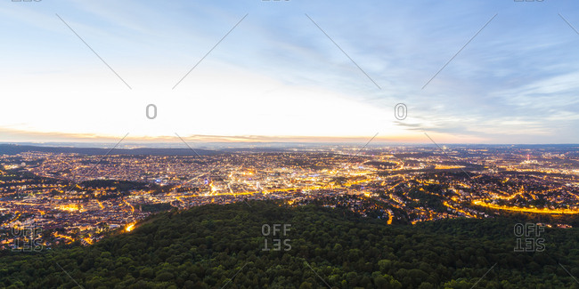 Germany- panoramic view of lighted Stuttgart at twilight