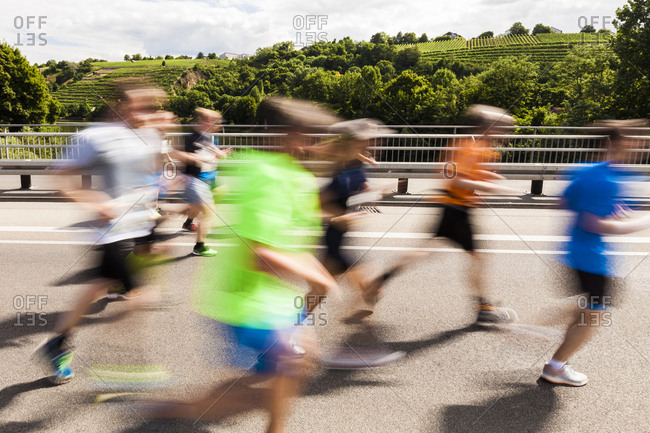Germany- Baden-Wurttemberg- Stuttgart- Runners in motion during half marathon