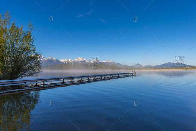 Germany- Bavaria- Allgaeu- Lake Hopfensee in the morning