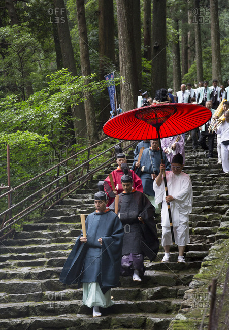 July 13, 2017 - Nachi, Japan: Procession of Shinto priests during a fire ritual