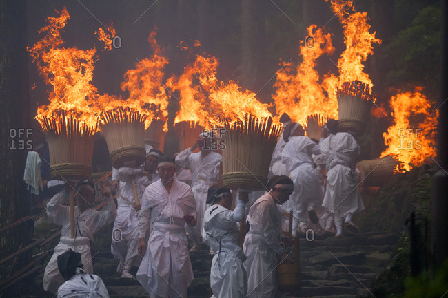 July 13, 2017 - Nachi, Japan: Shinto fire ritual called Nachi-no-Ogi Matsuri