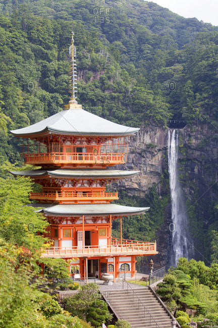 Shinto temple with Nachi waterfalls in background