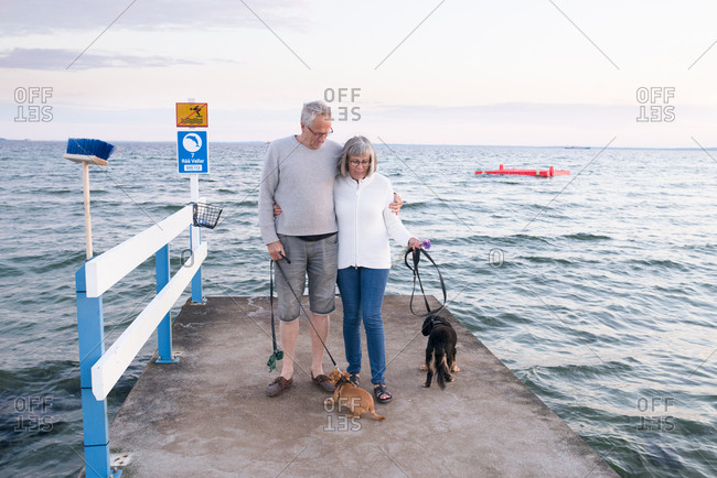 Senior couple standing on the end of a pier walking their dogs