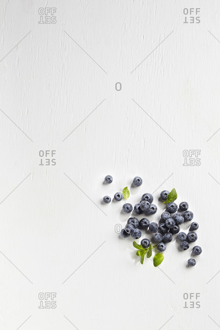 Blueberries with mint on white background