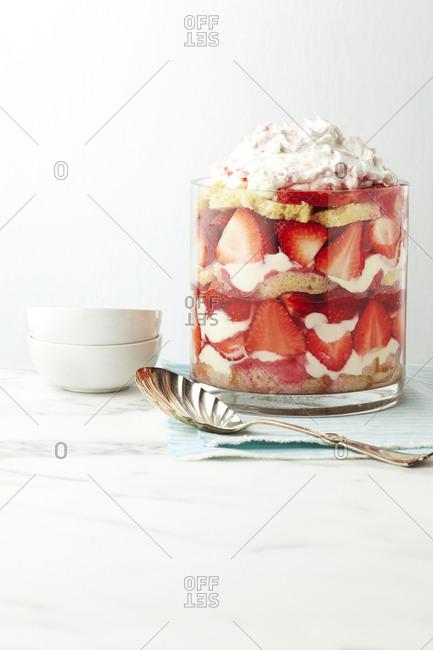 Rhubarb trifle in a glass