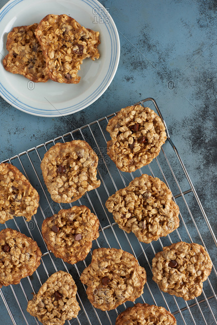 Gluten free oatmeal chocolate chip cookies of chickpea batter arranged on a cooling rack with a cookie on a plate nearby.