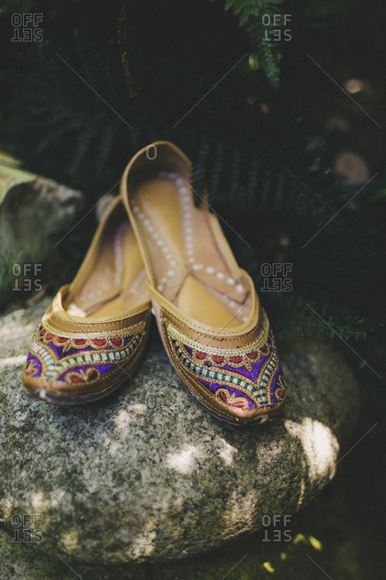 Colorful beaded bridal slippers
