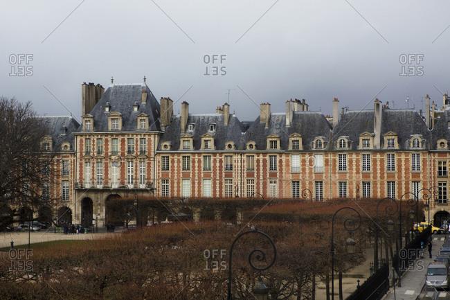 Paris, France - February 28, 2014: Place des Vosges in Le Marais