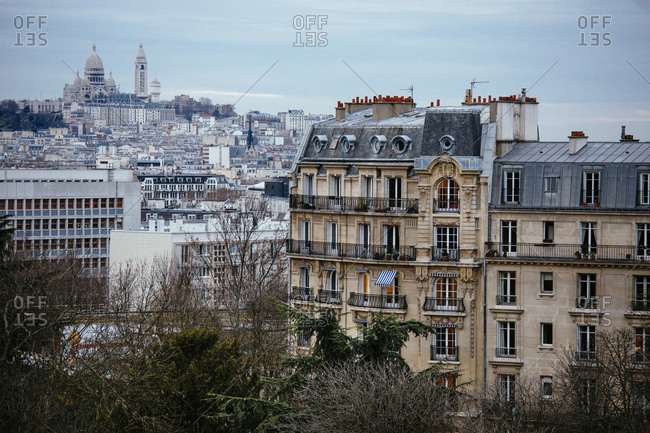 View of Montmartre and Sacre Coeur from Parc des Buttes Chaumont