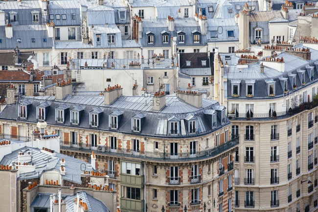 Apartments and rooftops as seen from above