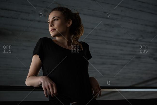 Beautiful woman relaxing in basement