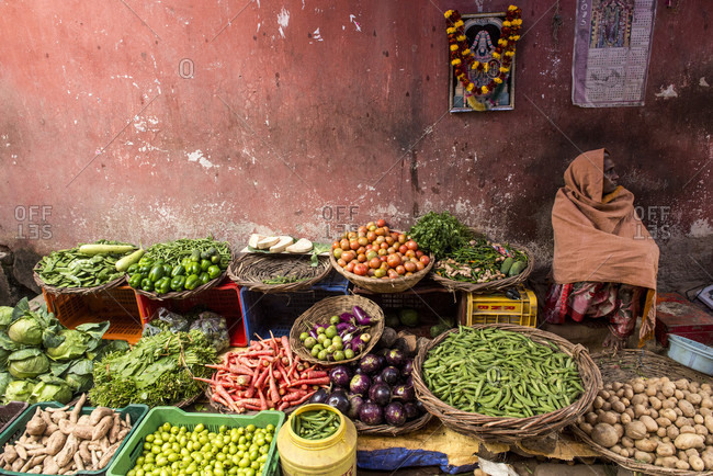 Varanasi, Uttar Pradesh, India - February 16, 2015: A woman waits for patron