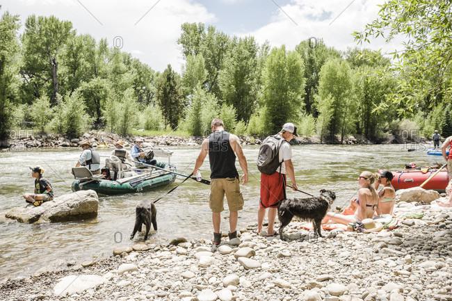 Gunnison, Colorado, USA - June 27, 2015: People enjoying near white water park in gunnison, colorado, usa