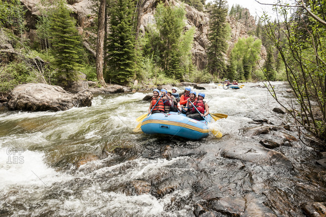 Taylor Canyon, Colorado, USA - June 22, 2016: People rafting on taylor river in colorado