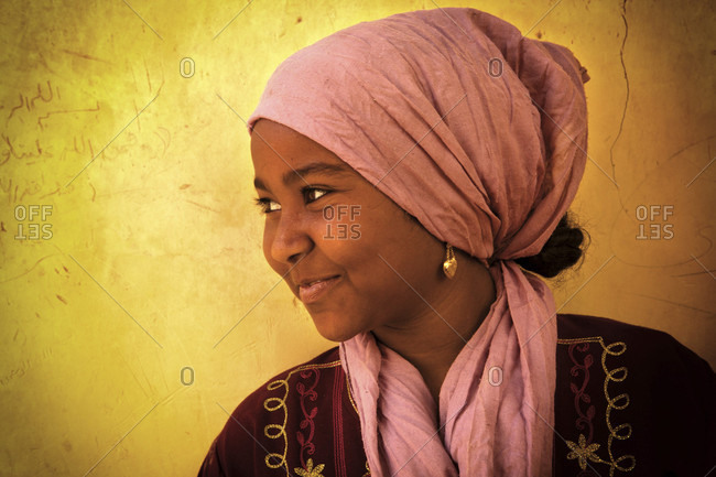 aswan, aswan, Egypt - January 4, 2012: Portrait of smiling woman in egypt