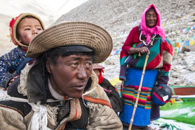 Kailash, Kailash, Tibet - July 21, 2017: Khampa pilgrim at drolma la pass in tibet