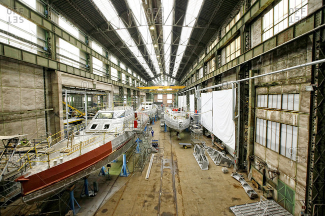 Cherbourg, Bouches-du-Rhone, France - January 26, 2016: Cmn, constructions mecaniques de normandie, a privately owned shipyard