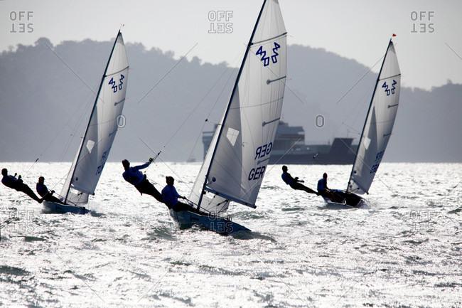 Kuah, Langkawi, Malaysia - December 30, 2015: 420 women fleet race day2, 2015 youth sailing world championships, langkawi, malaysia