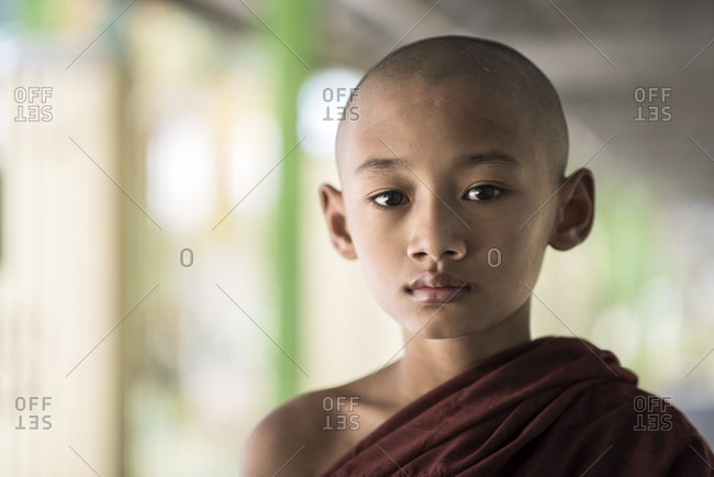 Dala, Yangon, Myanmar - March 7, 2015: Buddhist young monk, dala, yangon, myanmar.