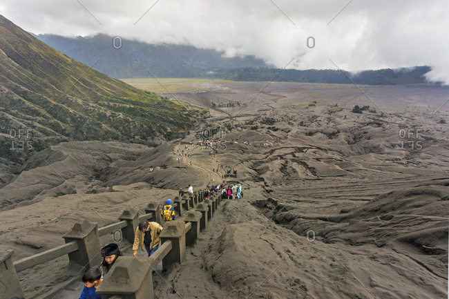 Bromo, Java, Indonesia - June 19, 2016: Tourists travel to mount bromo, east java, indonesia