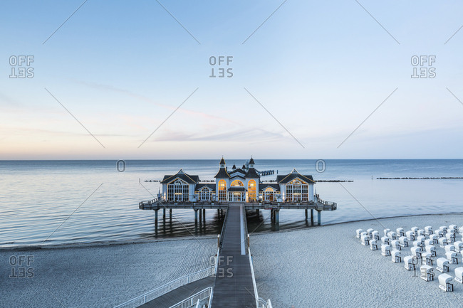 June 1, 2017: Germany- Ruegen- Sellin- view to sea bridge at twilight