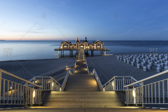 June 1, 2017: Germany- Ruegen- Sellin- view to sea bridge at sunset