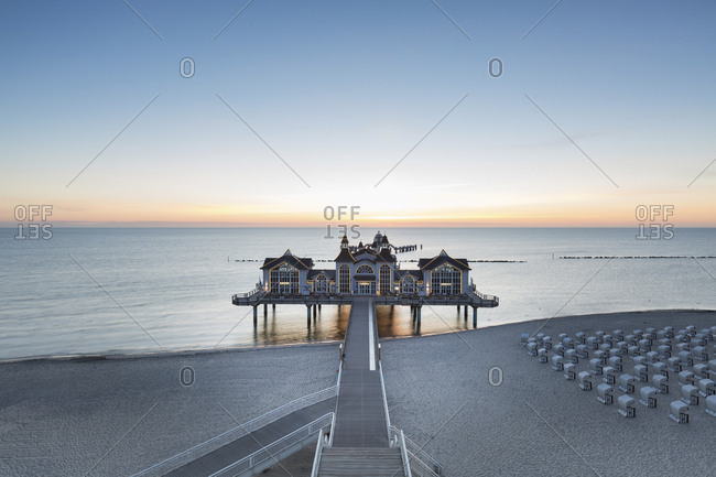 June 2, 2017: Germany- Ruegen- Sellin- view to sea bridge at sunrise