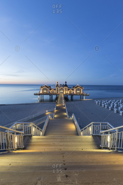 June 1, 2017: Germany- Ruegen- Sellin- view to sea bridge at evening twilight