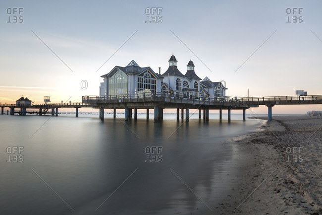June 2, 2017: Germany- Ruegen- Sellin- view to sea bridge at morning twilight