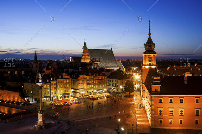 Poland- Warsaw- Old Town at twilight with Castle Square