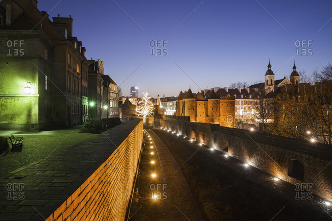 Poland- Warsaw- Old Town by night- historic city center