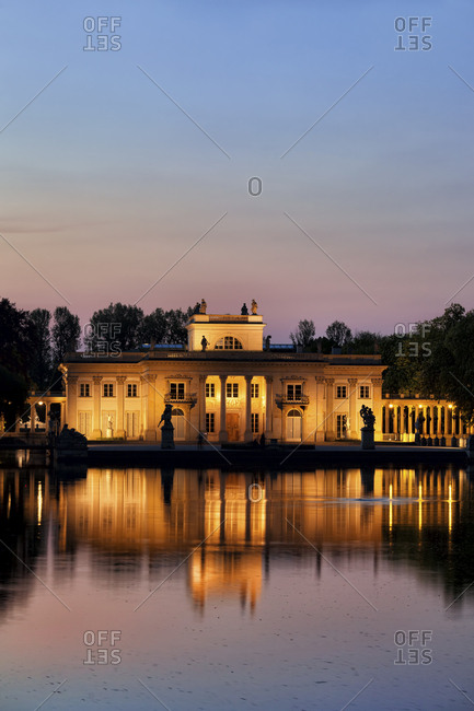 Poland- Warsaw- Royal Lazienki Park- Palace on the Isle at twilight with reflection on water